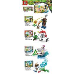 SHENG YUAN SY SY1438 1438 Xếp hình kiểu Lego PLANTS VS ZOMBIES Plants Vs.Zombies Plants Vs. Zombies 4 Machine Giant Zombies, Machine Rugby Zombie, Machine Armor Shark BOSS, Cold Peel 4 Loại Mecha Gian