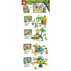 SHENG YUAN SY SY1453 1453 Xếp hình kiểu Lego PLANTS VS ZOMBIES Plants Vs.Zombies Plants Vs. Zombies 4 Beaches, Beach Watch Tower, Garage Ejection, Mechanical Octopus Zombie 4 Loại Chòi Trên Bãi Biển,