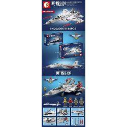 SEMBO 202055 Xếp hình kiểu Lego SKY WARS Flying Shark Shandong Shipping 歼 -15 Carrier Fighter Máy Bay Chiến đấu Trên Tàu Sân Bay J-15 1186 khối