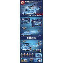 SEMBO 202051 Xếp hình kiểu Lego SKY WARS Z-18 Utility Helicopter Shandong Shipping Straight -18 Universal Helicopter Máy Bay Trực Thăng Tiện ích Zhi-18 908 khối