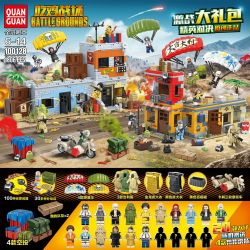 QUANGUAN 100128 Xếp hình kiểu Lego PUBG BATTLEGROUNDS Eating Chicken Battlefield Eat Chicken Spree Elites Ăn Gà Spree ưu Tú đấu 1806 khối