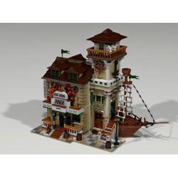 URGE 30103 PANGU PG-12003 12003 PG12003 Xếp hình kiểu Lego TOWN Boat Hous Diner Old Fisherman Househouse Restaurant Nhà Hàng Houseboat 2196 khối