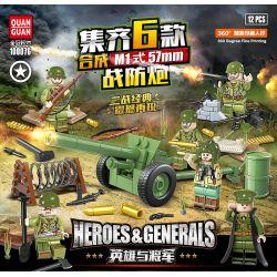 QUANGUAN 100076 Xếp hình kiểu Lego HEROES & GENERALS Hero And General US Military M1 57mm Warfare 16 Combination 6 Tổ Hợp Súng Phòng Thủ Chiến Tranh M1 57mm Của Mỹ 235 khối