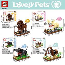 SHENG YUAN SY 801002A 801002B 801002C 801002D Xếp hình kiểu Lego PET Lovely Pets Pet Dog 4 Chó Cưng 4 Loại gồm 4 hộp nhỏ 947 khối