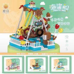 YURI 66113 Xếp hình kiểu Lego CITY MODERN PARADISE A Pirate Boat Playground Pirate Ship Tàu Cướp Biển 593 khối