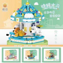 YURI 66114 Xếp hình kiểu Lego CITY MODERN PARADISE Merry-go-round Playground Rotating Trojan Băng Chuyền 708 khối