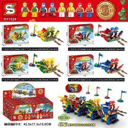 SHENG YUAN SY SY1524A 1524A SY1524B 1524B SY1524C 1524C SY1524D 1524D Xếp hình kiểu Lego SEASONAL Dragon Boat Festival Dragon Boat Competition 4 Đua Thuyền Rồng 4 Kiểu gồm 4 hộp nhỏ 518 khối