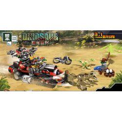 ZHEGAO QL1713 1713 Xếp hình kiểu Lego JURASSIC WORLD Dinosaur Three-in-one Hunting Dragon Cỗ Xe Săn Rồng Ba Trong Một 617 khối