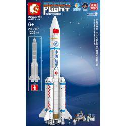 SEMBO 203307 Xếp hình kiểu Lego SPACE EXPLORATION Space Flight Aerospace Low Temperature Liquid Bundled Carrier Rocket Phương Tiện Khởi động Gói Chất Lỏng đông Lạnh 1202 khối