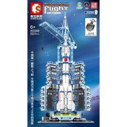 SEMBO 203308 Xếp hình kiểu Lego SPACE EXPLORATION Space Flight Aerospace Remote Manned Spacecraft Launch Base Cơ Sở Phóng Tàu Vũ Trụ Có Người Lái điều Khiển Từ Xa 2221 khối