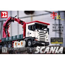 HAPPY BUILD YC-GC008 GC008 YCGC008 Xếp hình kiểu Lego BUILD TEAM X-Tech Scania Crane Lorry Yudu House Scania Hanged Locomotive Scania Sếu 3500 khối