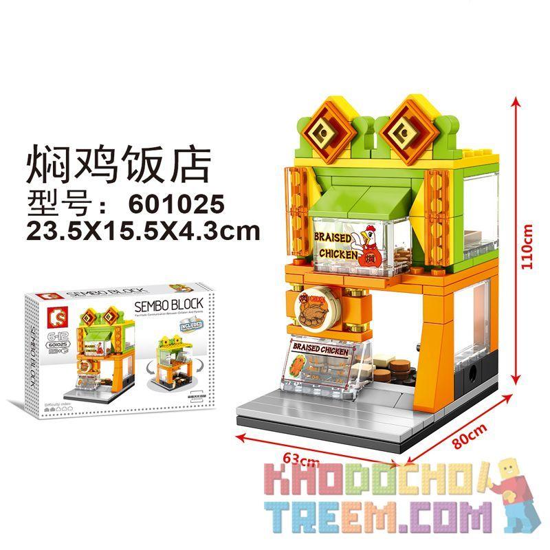 SEMBO 601025 Xếp hình kiểu Lego MINI MODULAR Mini Street View Braised Chicken Restaurant Nhà Hàng Gà Kho 123 khối