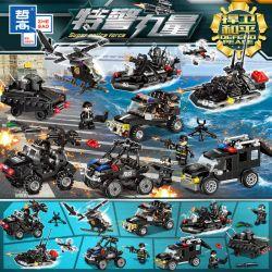 ZHEGAO QL0152 0152 Xếp hình kiểu Lego SUPER POLICE FORCE Special Police Force Full Deputy Armed Defending Peace 8 Trang Bị đầy đủ để Bảo Vệ Hòa Bình 8 Phong Cách 597 khối