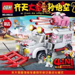 FROG BABY OBM 99632 Xếp hình kiểu Lego MONKIE KID Qi Tian Da Sheng Sun Wukong Zhu Haugu Mobile Nail Car 4 Combination Chef Zhu Di động Cào Móng 4 Kết Hợp 699 khối