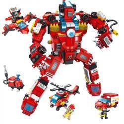 PanlosBrick 638003 Panlos Brick 638003 Xếp hình kiểu Lego FIRE RESCURE Fire Rescue 8 Combinations Of Fire Robots 8 Tổ Hợp Robot Chữa Cháy 752 khối