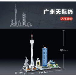 KAIYU K86108 86108 Xếp hình kiểu Lego ARCHITECTURE Particles Of Everything Landmark Building Guangzhou Skyline Đường Chân Trời Quảng Châu 680 khối