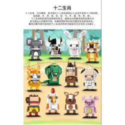 WANGE WG001 WG002 WG003 WG004 WG005 WG006 WG007 WG008 WG009 WG010 WG011 WG012 Xếp hình kiểu Lego BRICKHEADZ Brick Dollz Fangtang Twelve Zodiac Cung Hoàng đạo gồm 12 hộp nhỏ