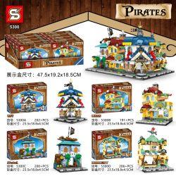 SHENG YUAN SY 5300A 5300B 5300C 5300D Xếp hình kiểu Lego PIRATES OF THE CARIBBEAN Pirate Small Street View 4 Banks, Bakery, Hotel, Food Shop Pirate Street View 4 Loại Ngân Hàng, Tiệm Bánh, Khách Sạn,