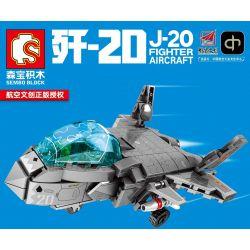 SEMBO 202121 Xếp hình kiểu Lego SKY WARS J-20 Fighter Aircraft Airland 歼 -20 Stealth Fighter Máy Bay Chiến đấu Tàng Hình J-20 365 khối