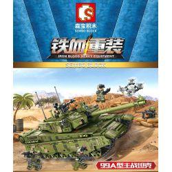 SEMBO 105751 Xếp hình kiểu Lego IRON BLOOD HEAVY EQUIPMENT Iron Plate 99A Main Battle Tank Xe Tăng Chiến đấu Chủ Lực Kiểu 99A 1144 khối