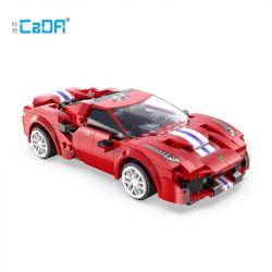 DOUBLEE CADA C51072 51072 Xếp hình kiểu Lego SPEED CHAMPIONS Ferrari 488 Red Track Sports Car Ferrari 488 đường đua Thể Thao Màu đỏ 306 khối