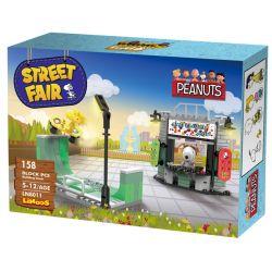LINOOS LN8011 8011 Xếp hình kiểu Lego SNOOPY IN SPACE Snoopy Street Fair Snono Skateboard Tiệm Bán Giày, Ván Patin 158 khối