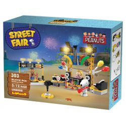 LINOOS LN8008 8008 Xếp hình kiểu Lego SNOOPY IN SPACE Snoopy Street Fair Snono Beach Concert Buổi Hòa Nhạc Bãi Biển 303 khối