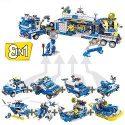 Kazi KY67256 67256 Xếp hình kiểu Lego Police Rice Mobile Cabin Command Car 8 Combination Of 72 Xe Chỉ Huy Cabin Di động Les 8 Tổ Hợp 72 Biến Thể 865 khối