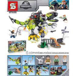 LARI 11337 SHENG YUAN SY SY1410 1410 Xếp hình kiểu Lego JURASSIC WORLD T. Rex Vs Dino-Mech Battle Jurassic World Overlord Dragon Battle Machine Trận T. Rex Vs Dino-Mech 716 khối