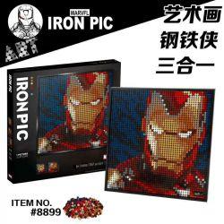 A BLOCK 8899 A A BLOCK 8899 SNAKE 30099 Xếp hình kiểu LEGO ART Marvel Studios Iron Man Mosaic Portrait Iron Man Người Sắt Của Marvel Studios 3406 khối