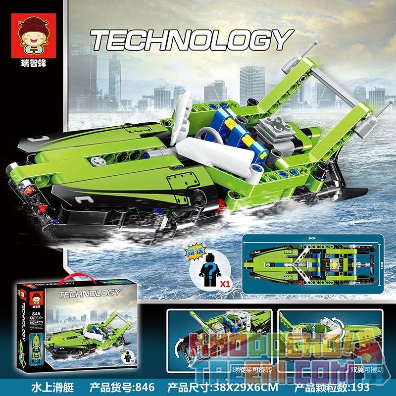NOT Lego TECHNIC 42089 Power Boat, JISI 13383 LEPIN 20098 QS08 919 RUIZHI BEE 846 Xếp hình Thuyền điện 174 khối