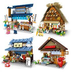 SEMBO 601084 601085 601086 601087 Xếp hình kiểu Lego MODULAR BUILDINGS And Wind Street View 4 4 Kiểu Cảnh đường Phố Nhật Bản gồm 4 hộp nhỏ 1533 khối