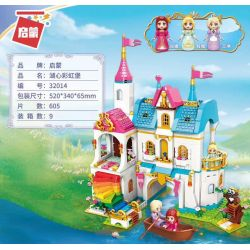 Enlighten 32014 Qman 32014 KEEPPLEY 32014 Xếp hình kiểu Lego PRINECESS LEAH Princess Leah Lia Princess Huahong Dream Lake Heart Rainbowcast Pháo đài Cầu Vồng 605 khối