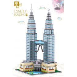 ZHEGAO QL0965 0965 Xếp hình kiểu Lego ARCHITECTURE FAMOUS BUILDING Malaysia Kuala Lumpur Oil Double Tower Tháp đôi Petronas ở Kuala Lumpur, Malaysia 2521 khối