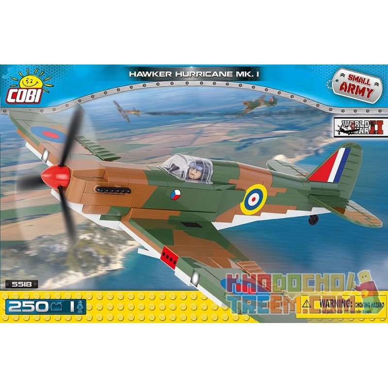 COBI 5518 Xếp hình kiểu Lego MILITARY ARMY Hawker Hurricane Mk I Hurricanes Bão 250 khối