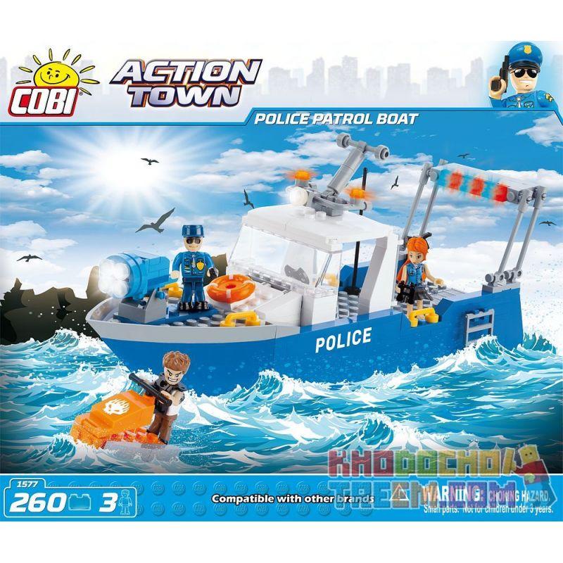 COBI 1577 Xếp hình kiểu Lego CITY Police Patrol Boat Tàu Tuần Tra Cảnh Sát 260 khối