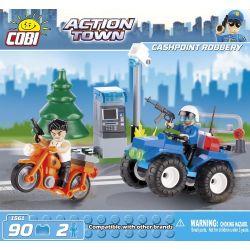 COBI 1561 Xếp hình kiểu Lego CITY Cashpiont Robbery Robbery ATM Cướp Máy ATM 90 khối