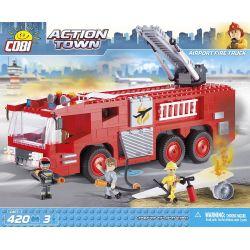 COBI 1467 Xếp hình kiểu Lego CITY Airport Fire Truck Xe Cứu Hỏa Sân Bay 420 khối