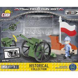 COBI 2979 2979 Xếp hình kiểu Lego MILITARY ARMY 75 Mm Field Gun 1897 M1897 75mm Field Gun Súng Trường M1897 75mm gồm 2 hộp nhỏ 61 khối