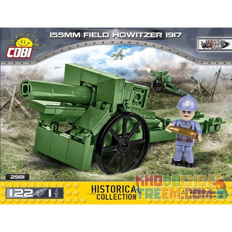 COBI 2981 2981 Xếp hình kiểu Lego MILITARY ARMY 155 Mm Field Howitzer 1917 M1917 Type 155mm Howitzer Lựu đạn M1917 Loại 155mm gồm 2 hộp nhỏ 122 khối