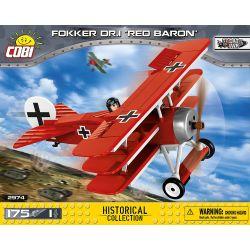 COBI 2974 Xếp hình kiểu Lego MILITARY ARMY Fokker Dr.1 Red Baron Fokker Dr.I Fighter Máy Bay Chiến đấu Fokker Dr.I 175 khối