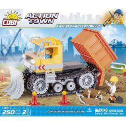 COBI 1673 Xếp hình kiểu Lego CITY Caterpillar Bulldozer Crawler Bulldozer Máy ủi Bánh Xích 250 khối