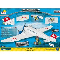 COBI 5711 Xếp hình kiểu Lego MILITARY ARMY Junkers Ju52 3m Ju 52 Transport Aircraft Máy Bay Vận Tải Ju 52 542 khối