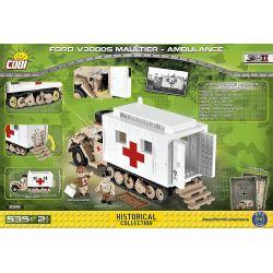COBI 2518 Xếp hình kiểu Lego MILITARY ARMY Ford V300S Maultier - Ambulance Ford V300S Maultier-ambulance Ford V300S Maultier-xe Cứu Thương 535 khối
