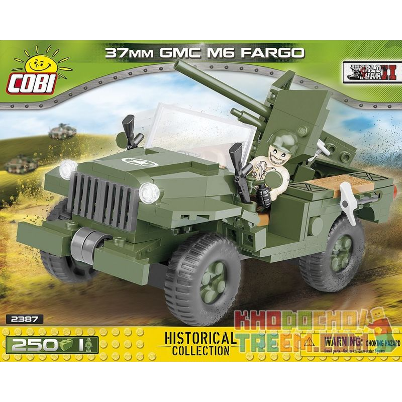 COBI 2387 Xếp hình kiểu Lego MILITARY ARMY 37 Mm GMC M6 Fargo M6 Type 37mm Artillery Mobile Carrier Tàu Sân Bay Di động Pháo 37mm Kiểu M6 250 khối