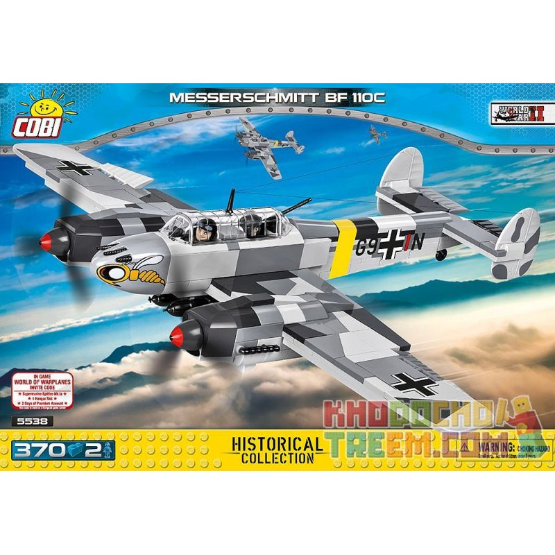 COBI 5538 Xếp hình kiểu Lego MILITARY ARMY Messerschmitt Bf 110C Messerschmidt Bf 110C 370 khối