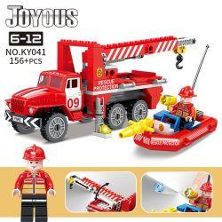 Kazi KY041 Xếp hình kiểu Lego FIRE RESCURE Joyous 智 趣 消防 Rescue Fire Truck Cứu Hộ Xe Cứu Hỏa 156 khối