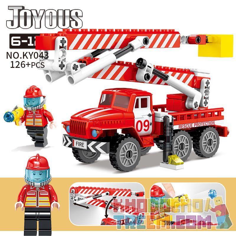 Kazi KY043 Xếp hình kiểu Lego FIRE RESCURE Joyous Chi Fun Fire Ascending Platform Fire Truck Xe Cứu Hỏa Trên Cao 126 khối