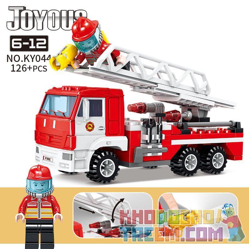 Kazi KY044 Xếp hình kiểu Lego FIRE RESCURE Joyous Chi Fun Fire Ladder Fire Truck Xe Thang Cứu Hỏa 126 khối