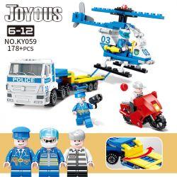 Kazi KY059 Xếp hình kiểu Lego Joyous Wisdom Police Helicopter Transport Police Car Trực Thăng Vận Chuyển Xe Cảnh Sát 178 khối